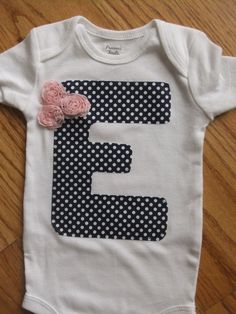 Polka Dot Outfit for Baby -  Infant Girl Onesie Personalized with Initial. $9.99, via Etsy.