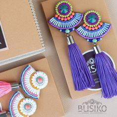 Colorful bead tassels earrings Beaded embroidered earring ethnic fashion Green blue orange earring Purple tassel Boho style women accessory by BusikoUA on Etsy