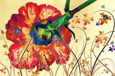 Psychedelically Mesmerized - A Trippy Floral Fantasy Splashed By Psychedelic Colors and Lines
