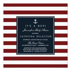 Sophisticated Baby | Navy on red and white stripe Nautical Baby Shower Invitation