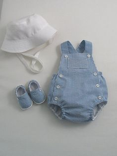 Blue Seersucker Sunsuit Espadrilles and Sun Hat - Baby Boy Shoes - Ideas of Baby Boy Shoes - Blue Seersucker Sunsuit Espadrilles and Sun Hat Baby Outfits, Kids Outfits, Baby Boy Fashion, Kids Fashion, Baby Boy Dress, Baby Boy Baptism, Baby Kind, Cute Baby Clothes, Baby Sewing