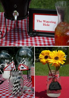 Farm Themed Birthday Party -  Like the signs  Moo U?...  Love the flowers in the mason jar