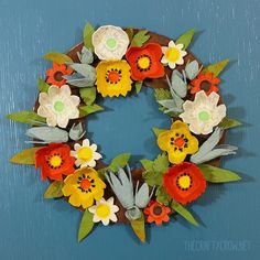 The Crafty Crow fall egg carton wreath craft DIY 2 copy