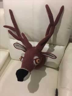 Stag head crochet taxidermy