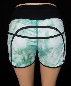 LULULEMON Tracker Shorts 4 S Small Sea Foam Green Tie Dye Yoga Run Rare…
