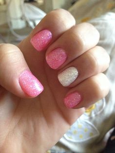 white glitter and pink nails