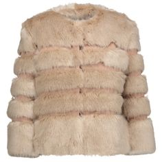 Ainea - Faux Fur And Satin Coat (510 CAD) ❤ liked on Polyvore featuring outerwear, coats, jackets, beige, beige coat, satin coat, print coat, imitation fur coats and faux fur coat