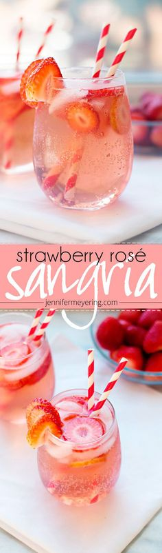 Looking for a quick + easy cocktail this summer? Save this recipe for Strawberry Rosé Sangria, made with lemon-lime soda, strawberries + vodka. Sangria Rosé, Rose Sangria, Sangria Recipes, Cocktail Recipes, Margarita Recipes, Drink Recipes, Party Recipes, Refreshing Drinks, Summer Drinks