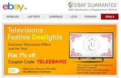 Ebay Coupon Code : 7% Offer on Televisions For Ganesha Festival