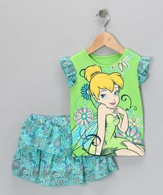 Take a look at this Green & Aqua Tinker Bell Top & Ruffle Skirt - Toddler by Disney on #zulily today!