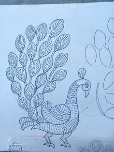 Peacock Embroidery Designs, Hand Embroidery Design Patterns, Cutwork Embroidery, Easy Flower Drawings, Mini Drawings, Art Drawings Sketches Simple, Mehndi Designs Book, Embroidery Techniques, Fabric Painting
