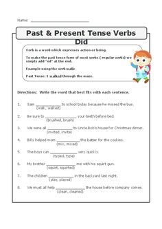 Past, Present, and Future Tense | Worksheets, Sentences and Language