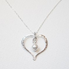 Mother's Day Necklace Pearl Heart Necklace by BelleAtelierJewelry, $42.00