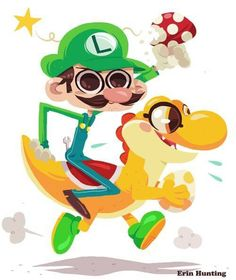 Luigi and Yoshi High on Mushrooms Artwork