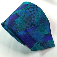 Florenzi Collection Abstract Geometric Skinny Necktie Self-Tipped Teal Purple #FlorenziCollection #NeckTie