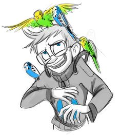 Feeling sad and depressed and drew Wheatley and budgies to try to cheer myself up. One day I am going to own a budgie of my own and he will be blue and . Wheatley and Budgies Portal Wheatley, Aperture Science, Portal 2, Spyro The Dragon, You Monster, Budgies, Kawaii Cute, Funny Images, Cute Art