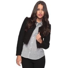 Lace Puff Shoulder Scalloped Crop Jacket Blazer M A textured cropped jacket with a tonal lace covered bow at the bust. It has a scoop neck, single hook-eye closure, and scalloped hemline. Mock pockets. Long sleeve. Light to medium weight. Woven. Fully lined.  Shell: 62% polyester, 27% acrylic, 3% cotton, 3% wool, 3% rayon, 2% nylon; lining: 100% polyester.  Read the review at http://www.forever21.com/product/product_oos.aspx?br=f21&category=outerwear&productid=2000032813 Forever 21 Jackets…