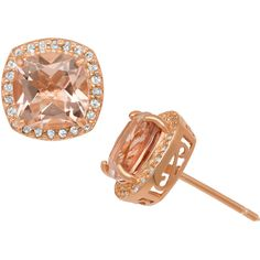 Gioelli Rose Gold/ Silver Simulated Morganite and Created Sapphire... ($144) ❤ liked on Polyvore featuring jewelry, earrings, champagne, heart shaped stud earrings, silver stud earrings, sapphire earrings, butterfly stud earrings and sapphire stud earrings