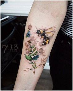 Bee tattoo on sleeve tattoo tatuagem - tattoed models - tattoo feminina - tattoo - tattoo quotes - t Pretty Tattoos, Love Tattoos, Beautiful Tattoos, New Tattoos, Body Art Tattoos, Forearm Tattoos, Dragon Tattoos, Feminine Tattoos, Tattoos Motive