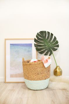 DIY Color-Dipped Clothes Hamper | lovelyindeed.com