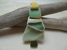 Pottery Beach Glass Tree Pin 2.5 by ArcticGlass on Etsy