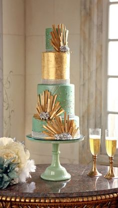 Love the gold fans and the gold accent layer. Could we substitute pale pink for green?