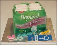 Depend cake for a woman turning 50. Chocolate cake with cookies  cream filling. The package front is an edible image