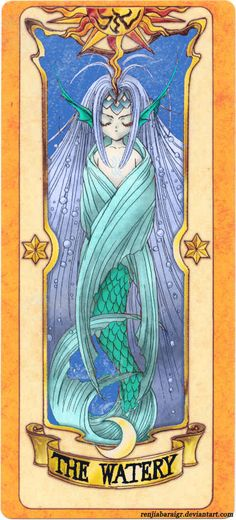 This is a colored version of The Watery Clow Card (colored by RenjiAbaraiGR on DeviantArt) from the Card Captor Sakura anime and manga series by CLAMP Card Captor Sakura, Anime Nerd, Madoka Magica, Manga Art, Anime Manga, Sailor Moon, Anime Couples, Sakura Kinomoto, Kawaii