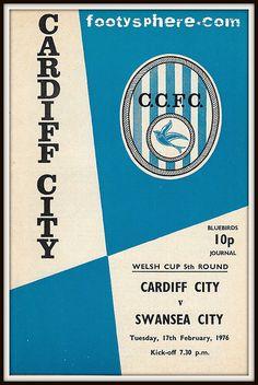 Cardiff v Swansea 76 Cardiff City Football, Cardiff City Fc, Bristol City, Football Program, Swansea, Crystal Palace, World History, Vintage Travel, Wales