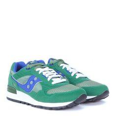 Laterale Sneaker Saucony Shadow 5000 in suede e nylon verde smeraldo e blu