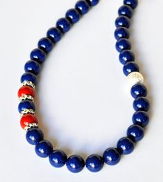 Blue Pearl Necklace and Red Handmade Beaded by beaddesignsbyk