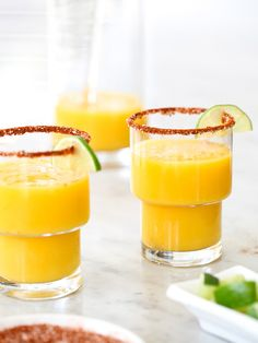 Mango margaritas with chile salt and lime