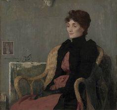 """Edmond Aman-Jean """"Portrait of a Woman"""" (French, 1860-1936) oil on canvas, c. 1891 artxart.com"""
