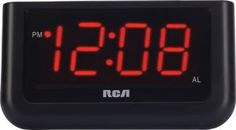 RCA Digital Alarm Clock with Large Display Power Type-Battery. No worry battery back-up battery not included) Red LED Display Large full-width snooze button Alarm Indicator Brightness control: high/low display setting Led Wall Clock, Desk Clock, Wall Clocks, Clock Work, Clock Decor, Travel Alarm Clock, Radio Alarm Clock, Digital Wall, Digital Alarm Clock