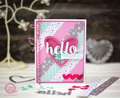 Hello card made from Queen & Co Heart Throb kit. Create shaker cards or scrapbook layouts in just minutes with this fun kit.