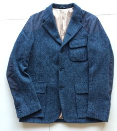 Nigel Cabourn Mallory Jacket Harris Tweed Ventile Navy Herringbone £699   eBay