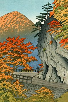 "Japanese Art Print ""Saruiwa in Shiobara"" by Kawase Hasui. Shin Hanga and Art Reproductions http://www.amazon.com/dp/B01DHDZ9O8/ref=cm_sw_r_pi_dp_D.4dxb1EEH997"