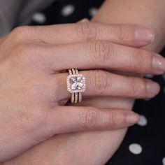 Rose Gold Morganite Ring Double Band Bridal Set 7mm Cushion Cut Halo Engagement Wedding And Anniversary
