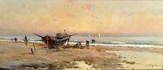 Eliseo Meifren Roig. Playa con pescadores. Óleo sobre lienzo. Firmado. Colección particular. Barcelona
