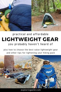The best lightweight backpacking gear often can't be found at REI. Learn where the thru-hikers get their gear, and other tips for enjoying a lighter backpack on your next hike. Gear Lightweight Backpacking Tips for More Comfortable Miles Thru Hiking, Camping And Hiking, Camping Gear, Tent Camping, Camping Essentials, Camping Gadgets, Camping Guide, Camping Equipment, Camping Hacks