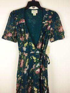Denim & Supply Ralph Lauren Women Floral Maxi Wrap Dress Green S M L