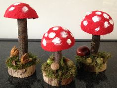Pilze aus Tennisbällen Tinker toadstools for the autumn decoration. With free instructions. Fall Crafts For Kids, Diy For Kids, Diy And Crafts, Arts And Crafts, Paper Crafts, Mushroom Crafts, Flower Art Images, Fall Decor, Holiday Decor