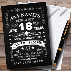 Vintage Chalkboard Style Black And White 18Th Birthday Party Personalised Invitations