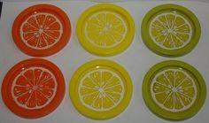 Vintage 70's Barware Coasters Fruit Theme Orange Avocado Yellow Set of 6 by MountainViewVintage on Etsy