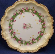 Coronet Haviland Limoges France Cabinet Plate Pink Roses Porcelain Hand Painted