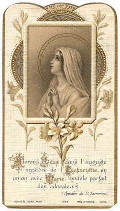 Virgin Mary Blessed Mother with Lilies Antique by 12StarsVintage