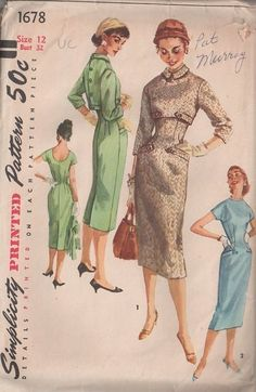 MOMSPatterns Vintage Sewing Patterns - Simplicity 1678 Vintage 50's Sewing Pattern BOMBSHELL Mad Men Curve Hugging Fitted Sheath Dress & Back Buttoned Empire Waist Cropped Jacket Topper
