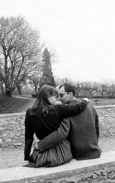 Anna Karina and Jean-Luc Godard photographed by Giancarlo Botti at Jean-Claude Brialy's home in Monthion, c. 1960