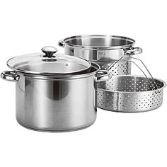 @Overstock - This four-piece set features an 8-quart stainless steel pot with a tempered glass lid, plus pasta and steamer baskets. The sturdy stainless steel construction and riveted handles make this set the perfect addition to any home-chefs collection.http://www.overstock.com/Home-Garden/Prime-Pacific-4-piece-Stainless-Steel-Stock-Pot-and-Pasta-Steamer-Set/6527657/product.html?CID=214117