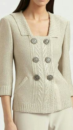 Handknit sweater in moss stitch, with large buttons #handmade #knitting #sweater